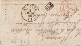 LETTRE 2 MARS 66. ST LEGER BELGIQUE POUR TROYES. ENTRÉE ROUGE BELG.MONTMEDY - 1849-1876: Période Classique