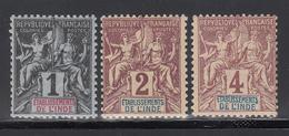 India 1892 Yvert Nº 1,2,3, MH - Nuovi