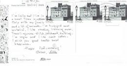27K : Italy Building, Street Lamp,  Stamp Used On Postcard - 6. 1946-.. Republik
