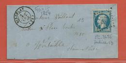 FRANCE DEVANT DE LETTRE DE 1854 DE VIROFLAY POUR VERSAILLES - 1853-1860 Napoléon III.