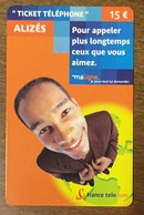 TICKET TELEPHONE ALIZÉS 15 EURO CARTE TÉLÉPHONIQUE PHONECARD PAS TELECARTE - FT
