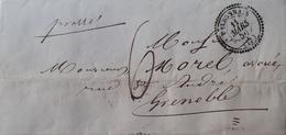 DF40266/1196 - ✉️ (LAC) - VALBONNAIS (Isère) Cachet Perlé Du 11 MARS 1856 > GRENOBLE (Isère) - 1849-1876: Période Classique