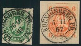 """1865/1867, 4 Und 6 Pfg. Wappen Mit Zentrischem K2 Von """"KÖNIGSBERG PR."""" - Kabinet - Prusse"""