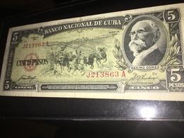 See Photos. Cuba 5 Pesos 1958 Circulated. - Cuba