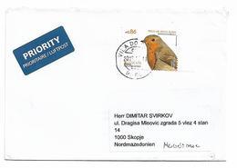 Portugal Bird Europa Pisco De Peito Send To Macedonia - 1910-... Republik