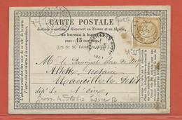 FRANCE CARTE DE 1876 DE GRISY LES PLATRES - 1871-1875 Ceres