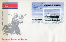 Eisbrecher 1984 Korea Block 191+FDC O 8€ Atomeisbrecher Polarmeer Schiff SU Hoja Ss Blocs Ship Cover Sheet Bf Corea - Polar Ships & Icebreakers