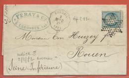 FRANCE LETTRE AMBULANT DE 1872 DE CORBEIL POUR ROUEN - 1871-1875 Cérès