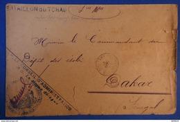 464 SENEGAL RARE LETTRE 1907 BATAILLON DU TCHAD POUR DAKAR +CACHET FORT LAMY + CACHET CONGO FRANCAIS - Tchad (1922-1936)