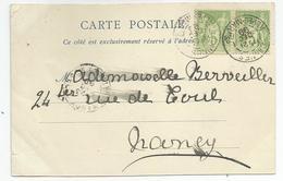 Marcophilie 2 Timbres 5c Vert Cachet Cannes 06 Pour Nancy - 1877-1920: Semi Modern Period