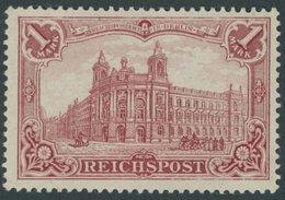 Dt. Reich 63b *, 1900, 1 M. Dkl`karminrot Reichspost, Falzrest, Pracht, Fotobefund Jäschke-L., Mi. 400.- - Germany