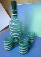 Vintage Soviet USSR Glass Bottle Decanter 3x Shot Glasses Nightcups Striped - Unclassified