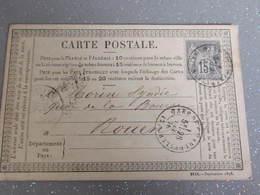 FRANCE 1876 ENTIER POSTAL /GANZSACHE/POSTAL STATIONERY CARTE PRECURSEUR Rouen Gare De Charleville - Cartes Précurseurs