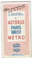 Paris Plan Chaix Officiel AUTOBUS METRO - Europa