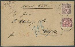 WÜRTTEMBERG 46,59 BRIEF, 1891, 50 Pf. Dkl`braunrot Und 10 Pf. Rot Auf Gesiegeltem Wertbrief Von STUTTGART Nach Crefeld, - Wurttemberg
