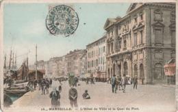 MARSEILLE (13001). L'Hôtel De Ville Et Quai Du Port, Animé. Bateaux, - Vieux Port, Saint Victor, Le Panier