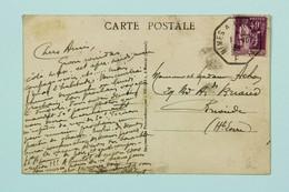 Carte Postale 1936 --> Brioudes, Haute Loire, Affr. 40c Type Paix, Tad Hexagonal Ambulant Jour Nimes à Clermont - Cartas