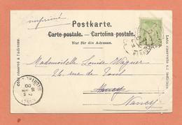 Marcophilie Timbre 5c Vert Sage Type 1 ? Carte Chaux De Fonds Place Neuve Le Marché Cachet 1900 - Postmark Collection (Covers)
