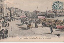 MARSEILLE (13001). Le Quai Du Port (Côté Des Augustins), Animé. Marchandises, Attelages - Vecchio Porto (Vieux-Port), Saint Victor, Le Panier