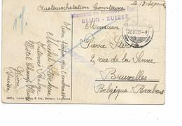 SH 0415. CP De GLION  - 26.VIII.16 - V. BRUXELLES. Censure De KONSTANZ - GFF Internement Des Prisonniers/GLION-SUISSE - Guerre 14-18