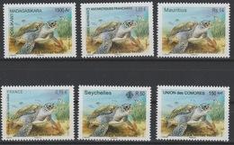 La Tortue Verte Green Turtle Schildkröte 2014 Joint Issue Faune Fauna Madagascar Seychelles France Comores MNH 6 Val. ** - Seychelles (1976-...)