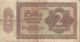 GERMANY DEM. REP.  P10B 2 MARK 1948 F / VF - [ 6] 1949-1990 : RDA - Rép. Dém. Allemande