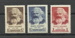 RUSSLAND RUSSIA 1958 Michel 2077 - 2079 Karl Marx MNH - Ungebraucht