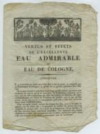 Vertus Et Effets De L'excellente Eau Admirable Ou Eau De Cologne . Publicité XVIIIe . Parfum . Pharmacie . - Publicités