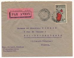 MADAGASCAR - Env. Affr 4,50F Carte De L'Ile Depuis Fianarantsoa - 1936 - Etiquette PTT N°131 Par Avion - Storia Postale