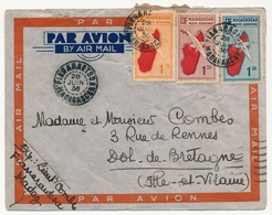 MADAGASCAR - Env. Affr Composé 1F + 1.25 + 1,50 Carte De L'Ile Depuis Fianarantsoa - 1936 - Madagascar (1889-1960)