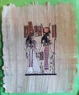 Papyrus , Egypte Avec Peinture , Scène  Deesse Hiéroglyphes  Egyptologie , Signé,  TB - Art Africain