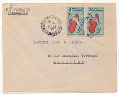 MADAGASCAR - Env. 3,90 Carte De L'Ile X2 Depuis Tananarive RP - 1951 - Brieven En Documenten
