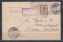 """Dt.Reich 1907 Kasten-o """" Entwertet In Dresden -A. 1 """" Auf Bayerischer Ganzsache P 74/04 Nach Dresden Mit Tages-o Dresden - Brieven En Documenten"""