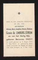 ADEL NOBLESSE - BARONNES JULIENNE SNOY  - WEZ VELVAIN 1872  KASTEEL VAN HEMSRODE ANSEGEM 1950 - Obituary Notices