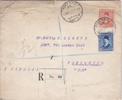 EGYPTE : Roi Fouad 1er Sur Recommandé Avec Courrier De 1929 Pour  Le Canada - Egypt