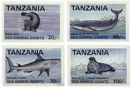 Ref. 69696 * NEW *  - TANZANIA . 1993. LARGE MARINE ANIMALS. GRANDES ANIMALES MARINOS - Tanzania (1964-...)