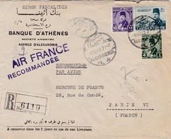 EGYPTE : Roi Farouk Sur Recommandé D'Alexandrie Par Avion Air France - Egypt