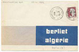 25C DECARIS SURCHARGE EA DE CONSTANTINE SUR ENV 1962 MASCICOTEE A GAUCHE - Cartas