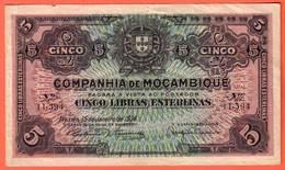 COMPANHIA De MOCAMBIQUE , BEIRA - 5 Libras Esterlinas 15 01 1934 - Pick R30 - Mozambique