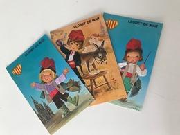 Lot De 3 Cartes Postales Anciennes Brodées LLORET DE MAR - Brodées