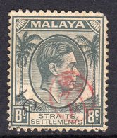 Malaya Japanese Occupation Penang 1942 8c Grey On Straits, Itchiburi Seal Overprint, Used, SG J73 - Japanese Occupation
