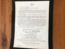 Prince De Merode Frederic Comte Du Saint Empire Prisonnier Politique *1911+1958 Everberg De Villefranche De Polignac Cle - Décès