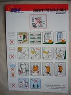Avion / Airplane / EBA - Eurobelgian Airlines / Boeing B 737 / Safety Card / Consignes De Sécurité - Consignes De Sécurité