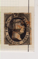 Año 1851 Edifil 6 6cu Isabel II Matasellos Rojo - Usati