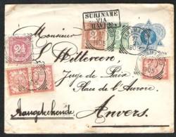 SURINAME Mooi Aangetekend Postwaardestuk Met Bijfrankering 6 Zegels 1905 Naar Antwerpen - Suriname ... - 1975