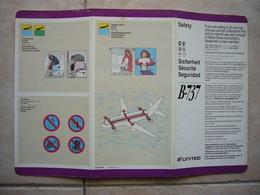 Avion / Airplane / UNITED / Boeing B 737 / Safety Card / Consignes De Sécurité - Consignes De Sécurité
