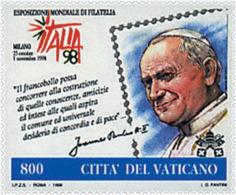 Ref. 57037 * NEW *  - VATICAN . 1998. ITALIA 98. INTERNATIONAL PHILATELIC EXHIBITION. ITALIA 98. EXPOSICION FILATELICA I - Vatican