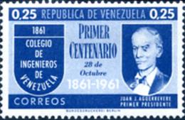 Ref. 176535 * NEW *  - VENEZUELA . 1961. 100 ANNIVERSARY OF THE COLLEGE OF ENGINEERS OF CARACAS. 100 ANIVERSARIO DEL COL - Venezuela