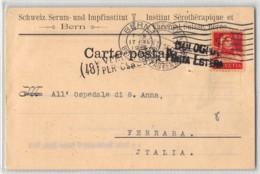 13219 HELVETIA BERN ISTITUT SEROTHERAPIQUE VACCINAL - CENSURA BOLOGNA POSTA ESTERA - Suisse