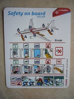 Avion / Airplane / AIR MALTA / Airbus A320 / Safety Card / Consignes De Sécurité - Consignes De Sécurité
